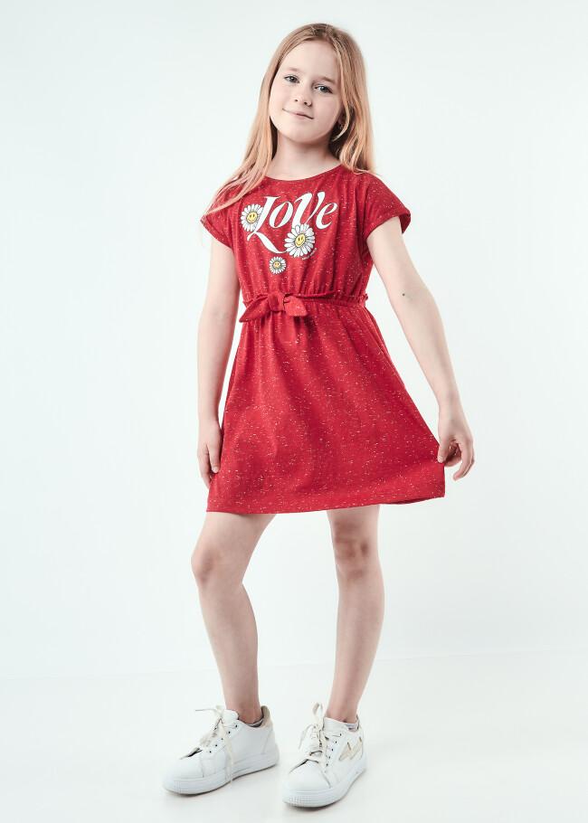 Сукня з бантиком на талії та підвернутими рукавами
