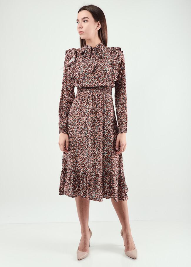 Сукня міді з рюшами
