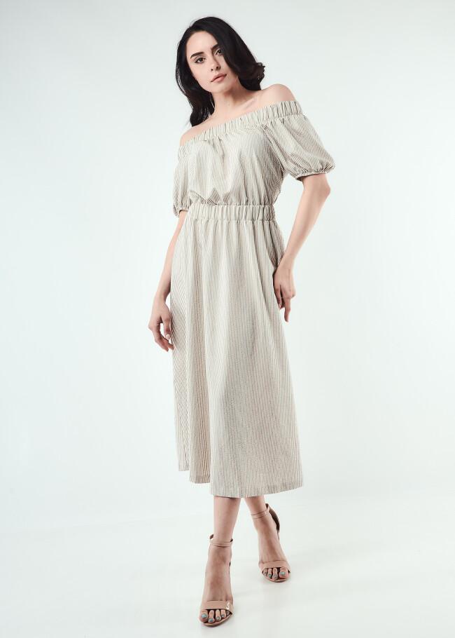 Сукня міді з резинкою по талії та вирізом на спині