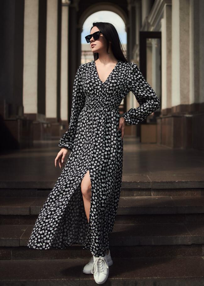 Сукня з марокену з розрізом