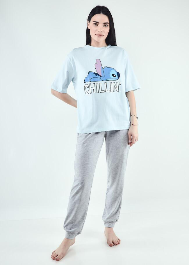 Піжама футболка вільного крою та штани з принтом