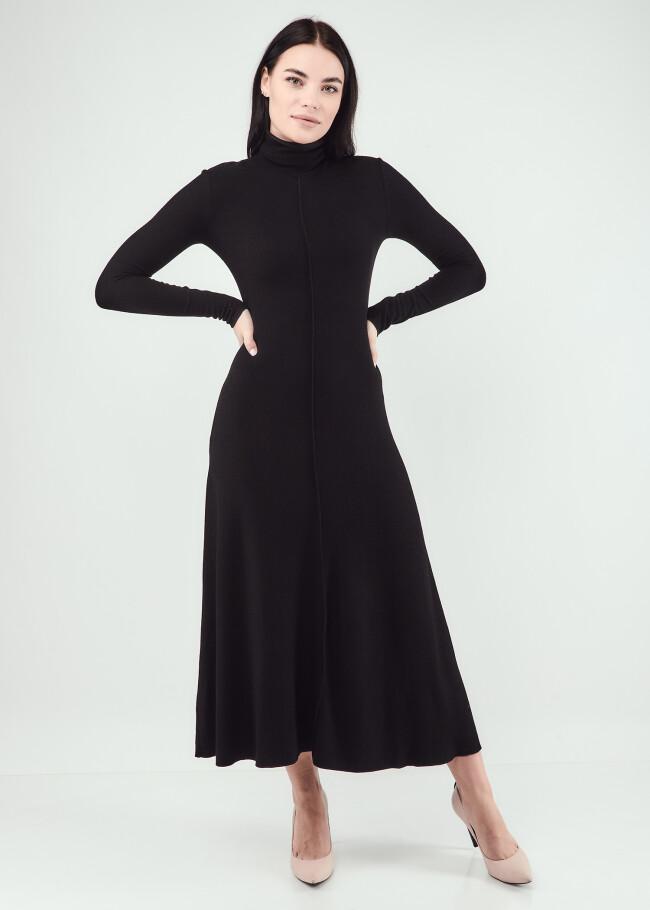 Сукня міді з коміром-стійкою