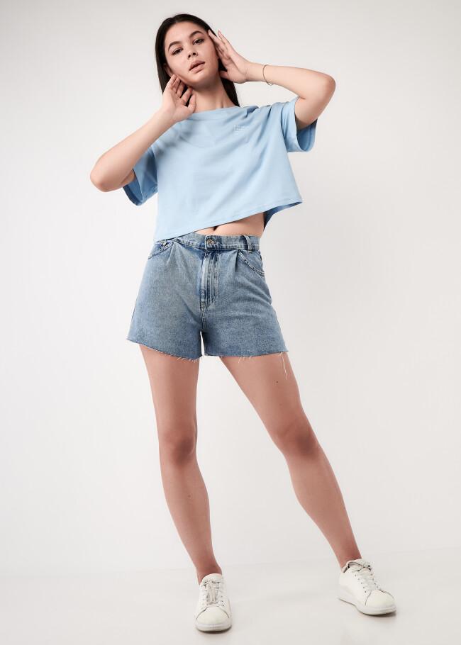 Шорти джинсові з защипами