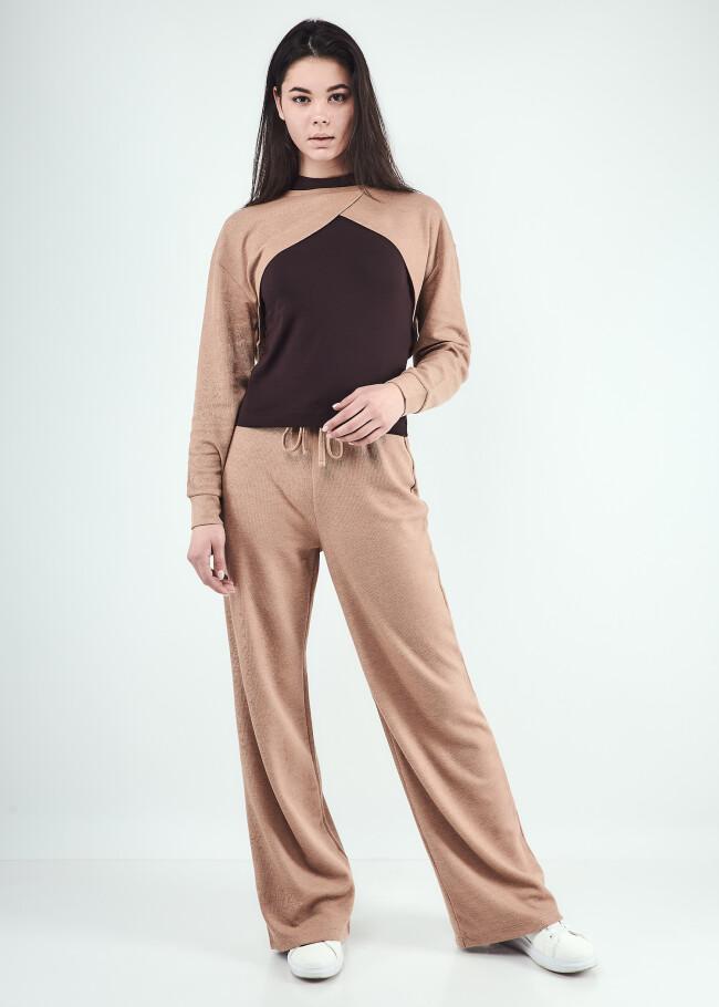 Костюм світшот-болеро,топ та штани вільного силуету