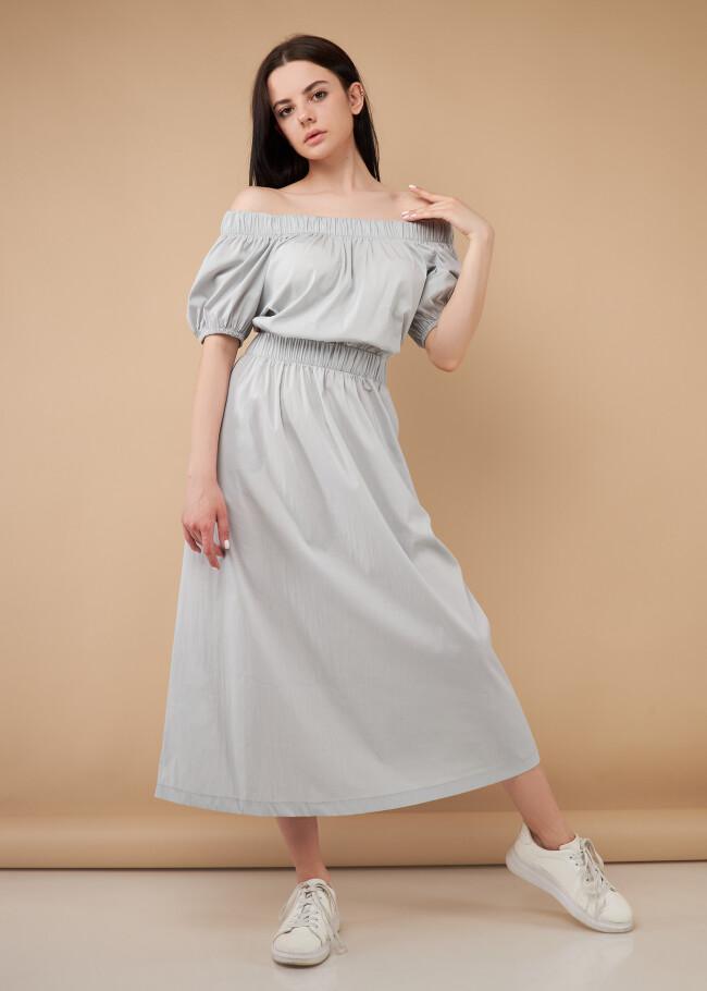 Сукня міді з резинкою на талії та вирізом на спині
